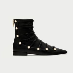 ZARA • Flat Ankle Boots with Faux Pearls
